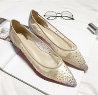 ingrosso scarpe da sposa in cristallo-Bottoms rossi Follies Strass Sneakers Punta a punta con borchie Spikes Rivetti cristalli Donna Scarpe da sposa Lady Scarpa con tacco alto