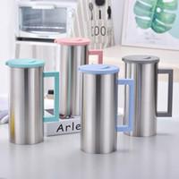 koreanischer kaffee großhandel-1.8L Edelstahl Wasserkrug Kalt- und Wärmflasche mit Griff Korean Juice Drinks Cups Coffee Mug GGA2112