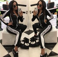 kadınlar için marka spor kıyafeti toptan satış-Tasarımcı Eşofman kadın Lüks Ter Takım Elbise Sonbahar Marka bayan Baskı Eşofman Jogging Yapan Takım Elbise Ceket + Pantolon Setleri Sporting Suit