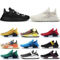 x sıcak golf toptan satış-adidas NMD human race ASıcak satış İnsan yarışı Hu yolu x pharrell williams Nerd erkekler koşu ayakkabı beyaz Siyah sarı dantel erkekler kadınlar için spor eğitmen sneaker