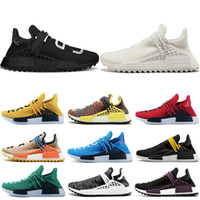 Wholesale black white art for sale online - Hot sale Human race Hu trail x pharrell williams Nerd men running shoes white Black yellow lace mens trainers for women sports sneaker
