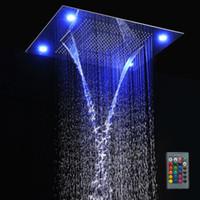 chuveiros iluminados venda por atacado-Multi Função Levou Luz Cabeça de Chuveiro 600 * 800mm Teto Chuveiro de Chuva Controle Remoto LED Chuvas Cachoeira Massagem Chuveiros
