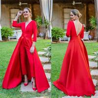 formale overalls frauen großhandel-2019 Hot Red Prom Dresses Long Sleev Prom Kleider Benutzerdefinierte Overalls Frauen Abendkleider bodenlangen