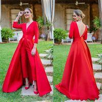 mais quente vestido de baile vermelho venda por atacado-2019 Hot Red Prom Vestidos Longo Sleev Vestidos de Baile Personalizado Jumpsuits Mulheres Vestidos Formais À Noite Do Chão-comprimento