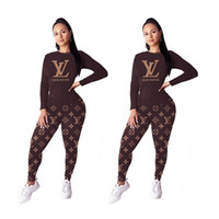 Wholesale race clothes for sale - Group buy Women Two Piece Set Outfits sportswear Tracksuit long sleeve Jogging Sports hoodie leggings Suits pullover clubwear women clothing klw2508