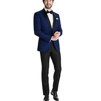 erkek italyanca uyma takımları toptan satış-Özel Lacivert Ceket Erkek Düğün için Suits 2 Parça İtalyan Damat Slim Fit Özel Adam Düğün Smokin Takım Elbise Suits