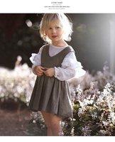 mädchen rüsche lange ärmel bluse großhandel-Neue Kinder Mädchen Puff Sleeve Shirts Frühling Herbst Rüschen Prinzessin Party Tops Candy Farbe Langarm Baumwolle Bluse T-Shirt 3 Farbe wählen