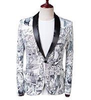 Wholesale plus size wedding coats for sale - Group buy Mens Gragon Ball Printed Blazers Wedding Party Fashion Jackets Coats Slim Fit Shawl Collar Blazer Jackets Plus Size
