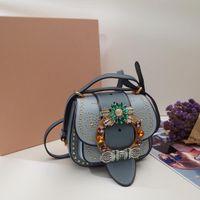 Wholesale peach gemstone resale online - Luxury fashion handbag ladies Messenger bag shoulder bag designer handbag quality craft original imported sheepskin Swarovski gemstone
