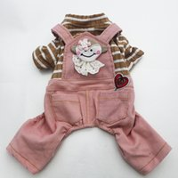 Wholesale dog rompers for sale - Group buy Dog Cat Corduroy Dress Shirt Jmupsuit Striped Lace Cat Puppy Strap Skirt Rompers Autumn Apparel Outfit
