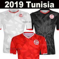 camisetas de fútbol de tailandia negro rojo al por mayor-Nueva Tunisia camiseta de fútbol blanca de Túnez 2019 2020 local de Maillots de pie mejor calidad de Tailandia Camisetas de fútbol camiseta roja de visitante
