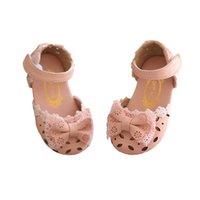 rosa kleinkind mädchen kleid schuhe großhandel-Kinder Rosa Kleinkind Baby Little Infant Mädchen Bowknot Sommer Sandalen Für Mädchen Süße Leder Atmungsaktive Hohl Kleid Schuhe Neu