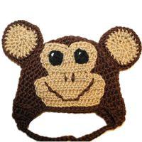 Wholesale winter monkey cap resale online - Adorable Knit Monkey Hat Handmade Crochet Baby Twins Boy Girl Animal Hat Infant Winter Cap Newborn Photo Prop