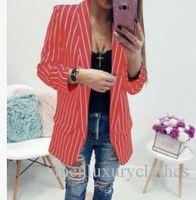 blazer feminino venda por atacado-Mulheres Striped Ternos Tops Designer Singler Breasted Blazers OL Feminino Casacos