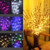 ingrosso alberi salice-Vendita calda LED Willow Tree Branch Lamp Natale Luce floreale 20 LED Home Party Garden Camera da letto Desktop Decorazione luci