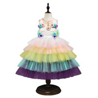 Wholesale sleeveless layered dresses children for sale - Group buy Unicorn Party Dress Children Carnival Costume Kids Dresses For Unicornio Layered Summer Girls Dress fantasia infantil Vestidos