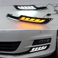 nebelscheinwerfer drk volkswagen großhandel-2 Stücke LED Tagfahrlicht Für VW Volkswagen Golf 7 2013 2014 2015 2016 Auto Zubehör 12 V DRL Nebelscheinwerfer