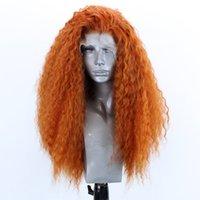langes lockiges haarperücke orange großhandel-Mode Perücke Chemiefaser Hochtemperatur Seide Weibliche Lange Lockige Haare Vordere Spitze Orange Einfarbig