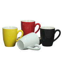 Wholesale coloured mugs for sale - Group buy Ceramics Coloured Glaze Cup Originality Handle Smooth Coffee Mugs Water Tumbler Pure Color Gift Classic Retro Hot Sale lhb1