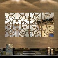 pegatinas adhesivas de espejo al por mayor-3D DIY etiqueta engomada del espejo pegatinas de pared extraíble espejo tatuajes de pared sala de estar decoraciones modernas autoadhesivas pegatinas