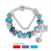 pingente de borboleta pandora venda por atacado-Fit Pandora Charm Bracelets Blue Sky Beads Pulseiras para mulheres borboleta de cristal frisado pulseira pingente senhora glaze pulseiras de amor Jóias