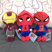 eisen mann puppe plüsch großhandel-8 zoll SpiderMan heimkehr plüsch puppen 25 cm Iron Man cartoon kinder puppen spielzeug Kinder spielzeug 3 teile / los