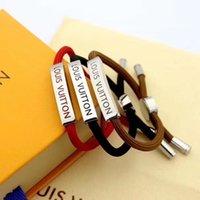 joyas de cuerda roja al por mayor-Moda pulsera de cuerda para hombres mujeres brazalete personalizado rojo / marrón / negro inoxidable Stee Pareja Naturaleza Joyería sin caja jiy98a