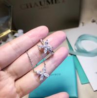 anéis de prata esterlina grátis venda por atacado-S925 prata esterlina colar de pingente de flor e jóias com diamantes para as mulheres anel colar brinco presente de casamento frete grátis PS5155