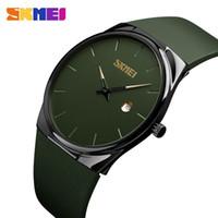 ordu yeşil saat toptan satış-SKMEI Kuvars İzle Erkekler Lady Moda Erkek Kadın Kol Saatleri Su geçirmez PU Küçük Saatler Ordu Green relogio Maskara Dial 1509