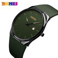 armee grüne uhren groihandel-SKMEI-Quarz-Uhr-Mann-Dame-Mode-Männer-Frauen-Armbanduhr wasserdicht PU Klein Dial Uhren Armee-Grün relogio masc 1509