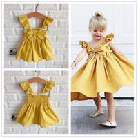 Wholesale girls dresses online - Cute Newborn Kids Baby Girl Dresses Clothing Sleeveless Ruffle Bowknot Dress Princess Clothes Girls Outfits Solid Summer
