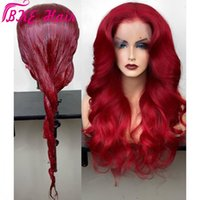 Wholesale braided frontal wig for sale - Group buy Bouncy wavy Red Lace Frontal Wigs Pre Plucked Deep Part Burgundy red Glueless synthetic Wig For Black Women can be braided