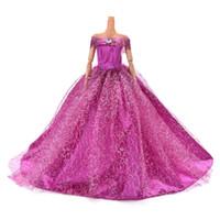 платья барби оптовых-2018 7 доступных цветов высокое качество Handmake свадебное платье принцессы элегантное платье для платья для куклы Барби