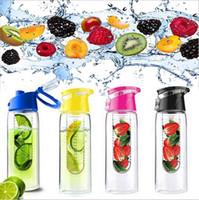 ingrosso bottiglia di acqua infusore di succo-Bottiglia di acqua di frutta Sport Fitness Bottiglie di salute Succo di silicone Realizza bottiglie da viaggio Campeggio con infusore da tè EEA392