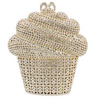 ingrosso sacchetto di spalla del gelato-Dgrain Newest Luxury Ice cream Crystal Evening Bag Oro argento CupCake Wedding Party Prom frizione borsa a tracolla catena borsa a tracolla