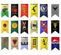 ingrosso bandiere diy-18 stili 18 stili 70 * 125 cm Game of Thrones bandiere decorazione del giardino bandiera fai da te cortile decorativo appeso casa banner bandiere puntelli del partito FFA1969