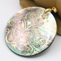 Wholesale diy shell necklace resale online - 51mm Natural Accessories Multicolor Abalone Paua Sea Pearl shells Pendant Flower DIY Christmas Women Girls Gifts Jewelry Making