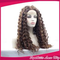 ingrosso parrucche ricci lunghe auburn-Parrucca anteriore riccia in pizzo riccio crespo colore bruno scuro Glueless con capelli sintetici parrucca anteriore in pizzo sintetico riccio marrone per donne nere