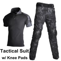 Wholesale black paintball uniform for sale - Group buy Paintball Hunting Clothing Tactical Shirt Pants with Knee Pads Camouflage Clothes Uniform Mens Camo Suits