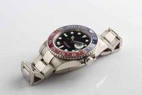 pulseiras de safira azuis venda por atacado-Mens Luxo de Alta Qualidade GMT 18kt Ouro Branco VERMELHO Azul Automático Mecânico Dive pulseira Data Sapphire Cristal relógios