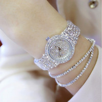 роскошные часы бриллианты оптовых-Роскошные женщины Алмаз известный бренд элегантное платье кварцевые часы дамы горный хрусталь наручные часы Relogios Femininos ZDJ04 C19010301