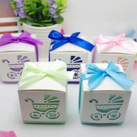 Wholesale wedding car ribbons resale online - Laser Cut Baby Car Baby Shower Candy Favor Box Girl Birthday Party Candy Box with Ribbon Sweet Wedding Decoration Candy