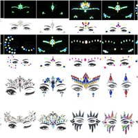 6PCS Temporary Rhinestone Glitter Tattoo Stickers Face Jewels Gems Festival Party Makeup Body Jewels Flash Face Crystal Stick
