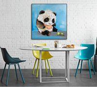 pinturas a óleo panda venda por atacado-Moda Pintura de Parede Pintados À Mão Abstrata Colorida Graffiti Pinturas A Óleo Feliz panda Home Decor Art Pictures Presentes