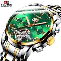 relojes de marca tevise al por mayor-Top lujo de la marca TEVISE automático para hombre Relojes de acero inoxidable de los hombres de Tourbillon Calendario Reloj mecánico Relogio Masculino