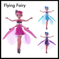 Wholesale fairy toys fly resale online - Newest Mini RC Aircraft Flying Fairy Doll Electric Induction RC Drone Helicopter Toy Fairy Tale Figures Christmas Gift for Girls
