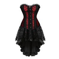 vestido de moda victoriana al por mayor-Bustiers faldas corsé para las mujeres party girls victorian vestido corselet overbust encaje floral lencería sexy moda corsés góticos
