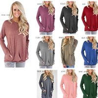 Wholesale girls collar neck shirt for sale - Group buy 11colors Women Round Collar Long Sleeve T Shirt Female Pocket Decoration T shirts Loose Casual Tees Slim Tunic Tops With Pockets GGA2532