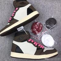 mejores zapatillas para correr al por mayor-Diseñador 2019 Mejor calidad 1 High OG Travis Scotts Cactus Jack Suede Dark Mocha TS SP 3M Zapatillas de baloncesto Hombres Mujeres 1s Zapatillas de deporte