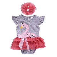 Wholesale baby swan rompers resale online - Infant baby girls swan dot rompers with bow headband lace Tulle jumpsuits bodysuit onesies fashion boutique kids clothes M